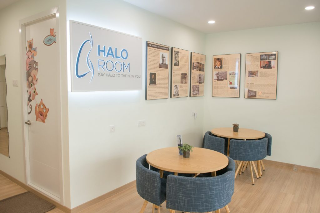 A picture of The Halo Room's waiting area in the lobby